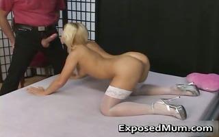enchanting blond mum in nylons coarse