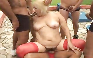 mature granny golden-haired victoria gangbang