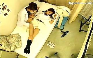 schoolgirl in uniform getting her teats licked
