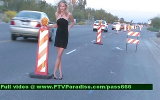 inventive golden-haired public flashing pantoons